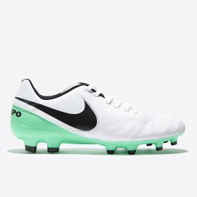 Nike Tiempo Legacy II Firm Ground Football Boots - White/Black/Electro Green