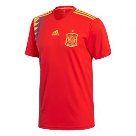 Spain Home Shirt 2018 with A.Iniesta 6 printing