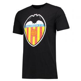 Valencia CF Classic Distressed Crest T-Shirt - Black - Mens