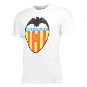Valencia CF Classic Distressed Crest T-Shirt - White - Mens