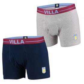 Aston Villa 2PK Boxer Shorts - Grey/Navy - Mens