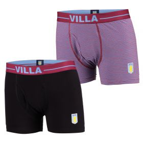 Aston Villa 2PK Home and Away Boxer Shorts - Black/Claret - Mens