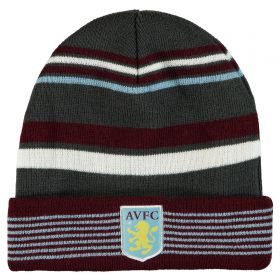 Aston Villa Striped Beanie - Claret/Charcoal - Adult