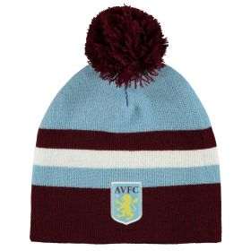 Aston Villa Striped Bobble Beanie - Sky/Claret - Adult