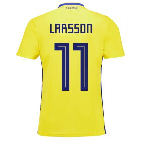 Sweden Home Legends Shirt 2018 with Larsson 11 printing