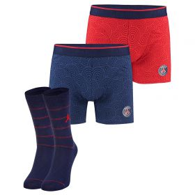 Paris Saint-Germain 2 PK Boxer Shorts & Socks Gift Set - Navy/Red - Mens