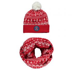 Paris Saint-Germain Pompom Beanie & Snood Scarf Gift Set - Red - Adult