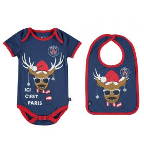 Paris Saint-Germain Reindeer Bodysuit & Bib Gift Set - Navy - Baby