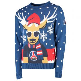 Paris Saint-Germain Reindeer Christmas Jumper - Navy - Adult