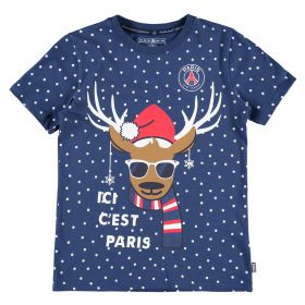 Paris Saint-Germain Reindeer Christmas T-Shirt - Navy - Junior
