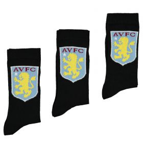 Aston Villa 3PK Classic Socks - Black - Junior