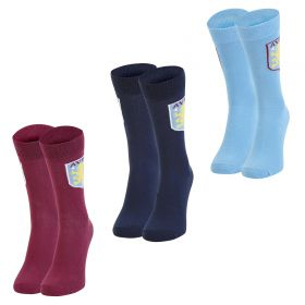 Aston Villa 3PK Classic Socks - Navy/Claret/Sky Blue - Mens
