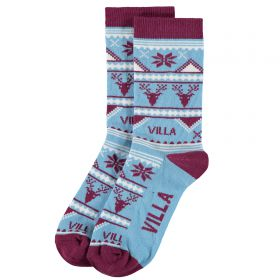 Aston Villa Christmas Socks - Sky Blue - Womens