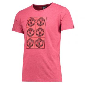 Manchester United Multi Box T-Shirt - Burgandy Heather - Mens