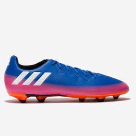 adidas Messi 16.3 Firm Ground Football Boots - Blue/White/Solar Orange - Kids