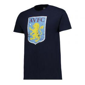 Aston Villa Distressed Crest T-Shirt - Navy - Junior