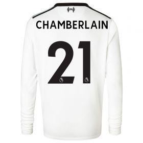 Liverpool Away Shirt 2017-18 - Long Sleeve - Kids with Chamberlain 21 printing