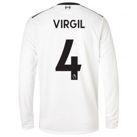Liverpool Away Shirt 2017-18 - Long Sleeve with Virgil 4 printing
