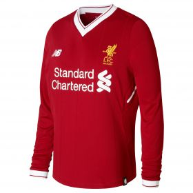 Liverpool Home Shirt 2017-18 - Long Sleeve - Kids with Chamberlain 21 printing