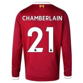 Liverpool Home Shirt 2017-18 - Long Sleeve - Kids with Chamberlain 21 printing