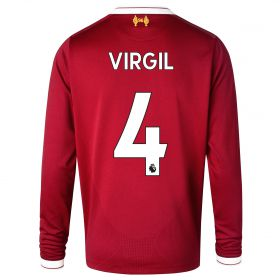 Liverpool Home Shirt 2017-18 - Long Sleeve - Kids with Virgil 4 printing