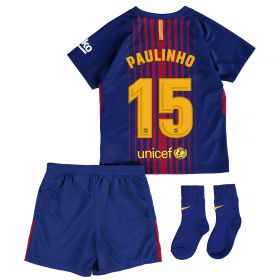 Barcelona Home Stadium Kit 2017/18 - Infants with Paulinho 15 printing