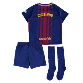 Barcelona Home Stadium Kit 2017/18 - Little Kids - Unsponsored with Coutinho TBC printing