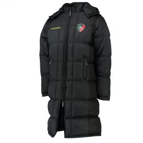 Leicester Tigers Padded Training Jacket - Black/Fluro Green