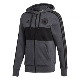 Manchester United 3 Stripe Full Zip Hoodie - Dark Grey