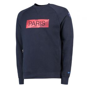 Paris Saint-Germain Authentic Crew Sweatshirt - Dk Blue