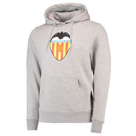 Valencia CF Distressed Crest Hoodie - Heather Grey Marl - Adult