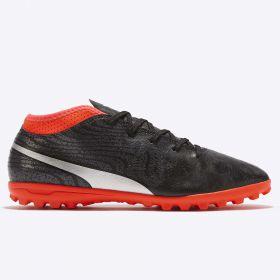Puma One 18.4 Astroturf Trainers - Black/Silver/Red Blast - Kids
