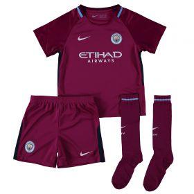 Manchester City Away Stadium Kit 2017-18 - Little Kids with Laporte 14 printing