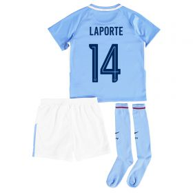Manchester City Home Stadium Cup Kit 2017-18 - Little Kids with Laporte 14 printing