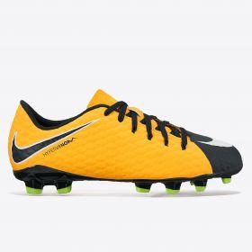 Nike Hypervenom Phelon III Firm Ground Football Boots - Laser Orange/Black/Black/Volt - Kids