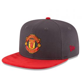 Manchester United New Era Suede Visor 9FIFTY Snapback Cap - Grey - Adult