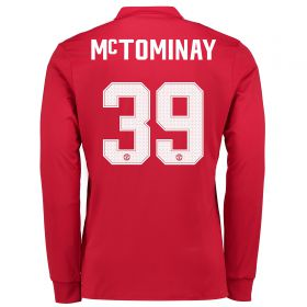 Manchester United Home Cup Shirt 2017-18 - Long Sleeve with McTominay 39 printing