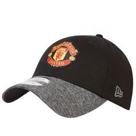 Manchester United New Era 9FORTY Marl Visor Adjustable Cap - Black - Adult