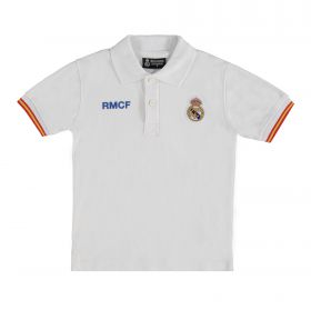 Real Madrid Crest Polo Shirt - White - Junior