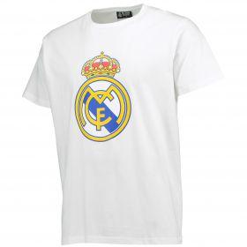 Real Madrid Crest T-Shirt - White - Mens