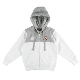 Real Madrid Full Zip Hoodie - White/Grey - Junior