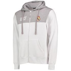 Real Madrid Full Zip Hoodie - White/Grey - Mens