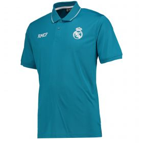 Real Madrid Polyester Training Polo Shirt - Green - Mens