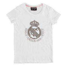 Real Madrid Tonal Crest T-Shirt - White - Girls