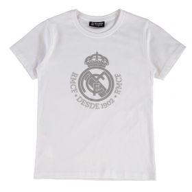 Real Madrid Tonal Crest T-Shirt - White - Junior