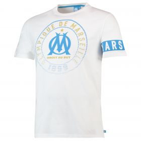 Olympique de Marseille Graphic Arm Band T-Shirt - White - Mens