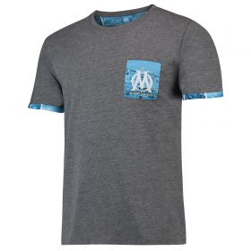 Olympique de Marseille Graphic Contrast Pocket T-Shirt - Grey - Mens