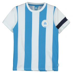 Olympique de Marseille Graphic Striped Arm Band T-Shirt - White/Sky - Boys