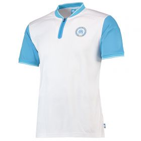 Olympique de Marseille Printed Back Polo Shirt - White/Blue - Mens