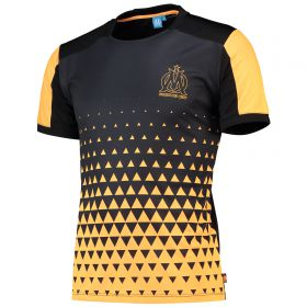 Olympique de Marseille Graphic Colour Fade T-Shirt - Black/Orange - Mens